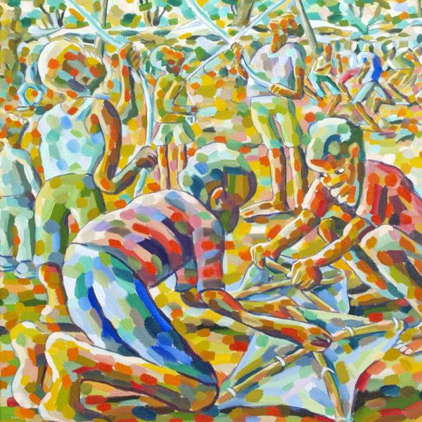 Lovemore Kambudzi: obraz Děti pouštějící draky