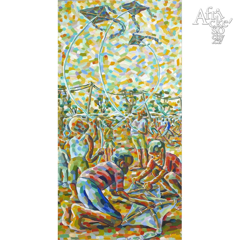 Lovermore Kambudzi:  painting Children flying kites