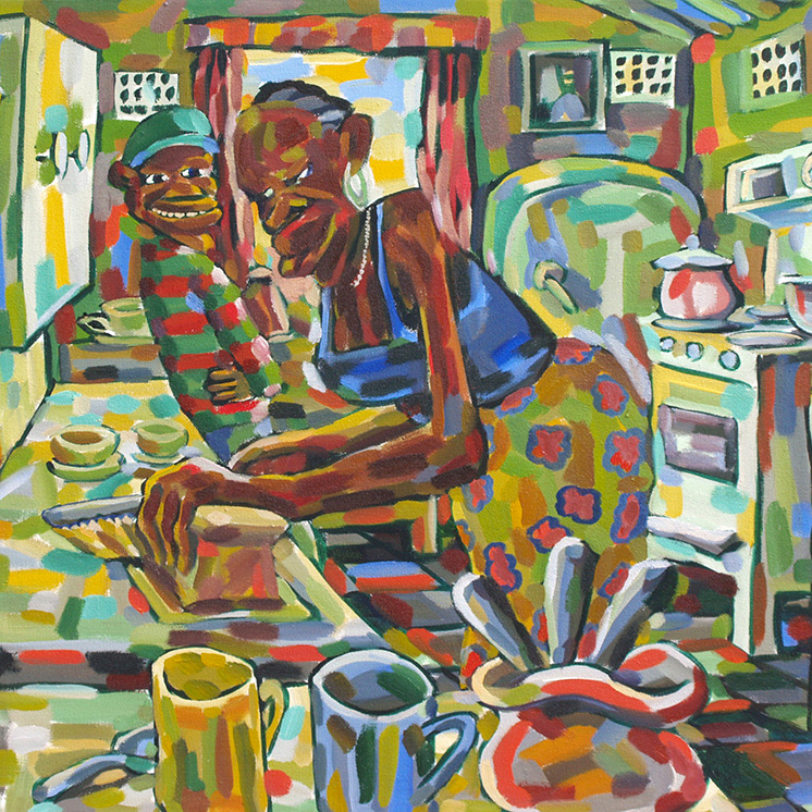 Lovermore Kambudzi: painting In the kitchen