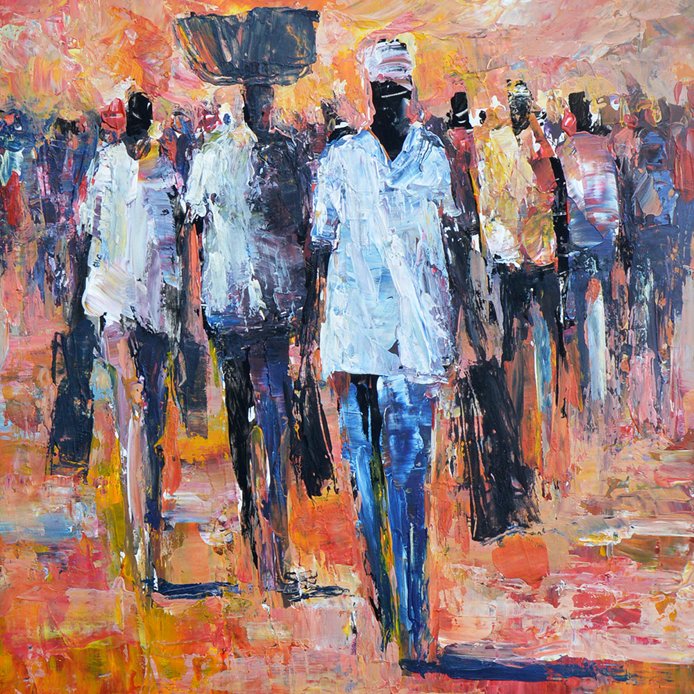 Barry Lungu: painting On the way from market