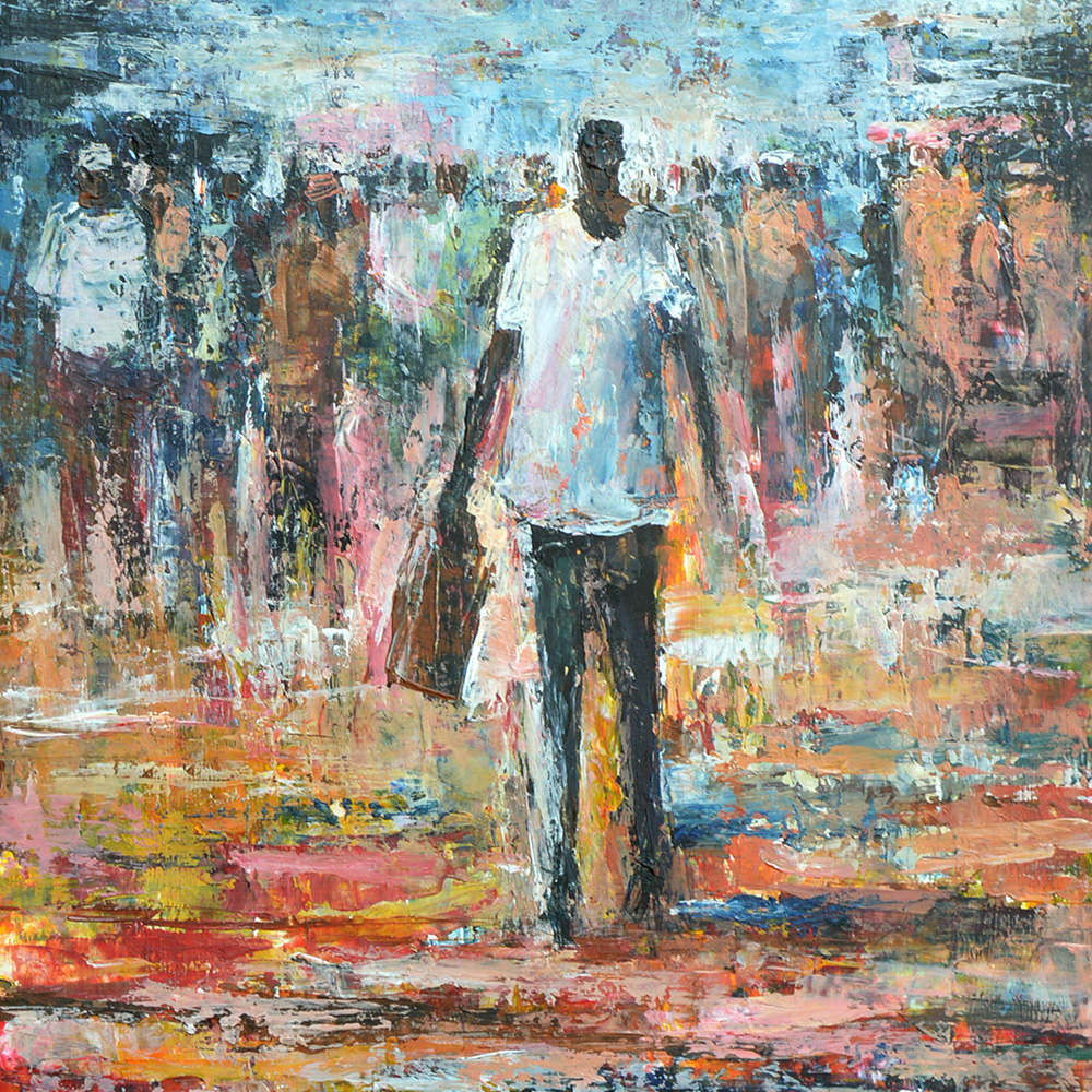 Barry Lungu:  painting Man with a shopping bag