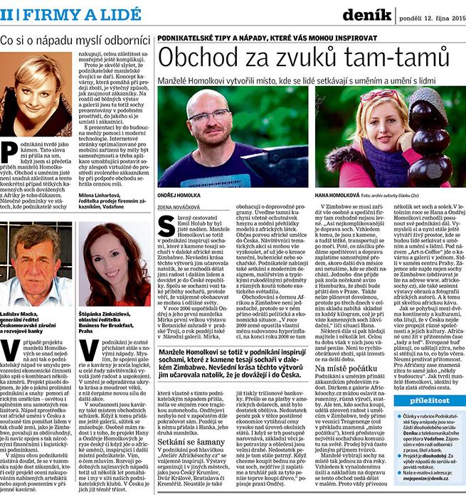 Článek v Deníku ze dne 12. 10. 2015