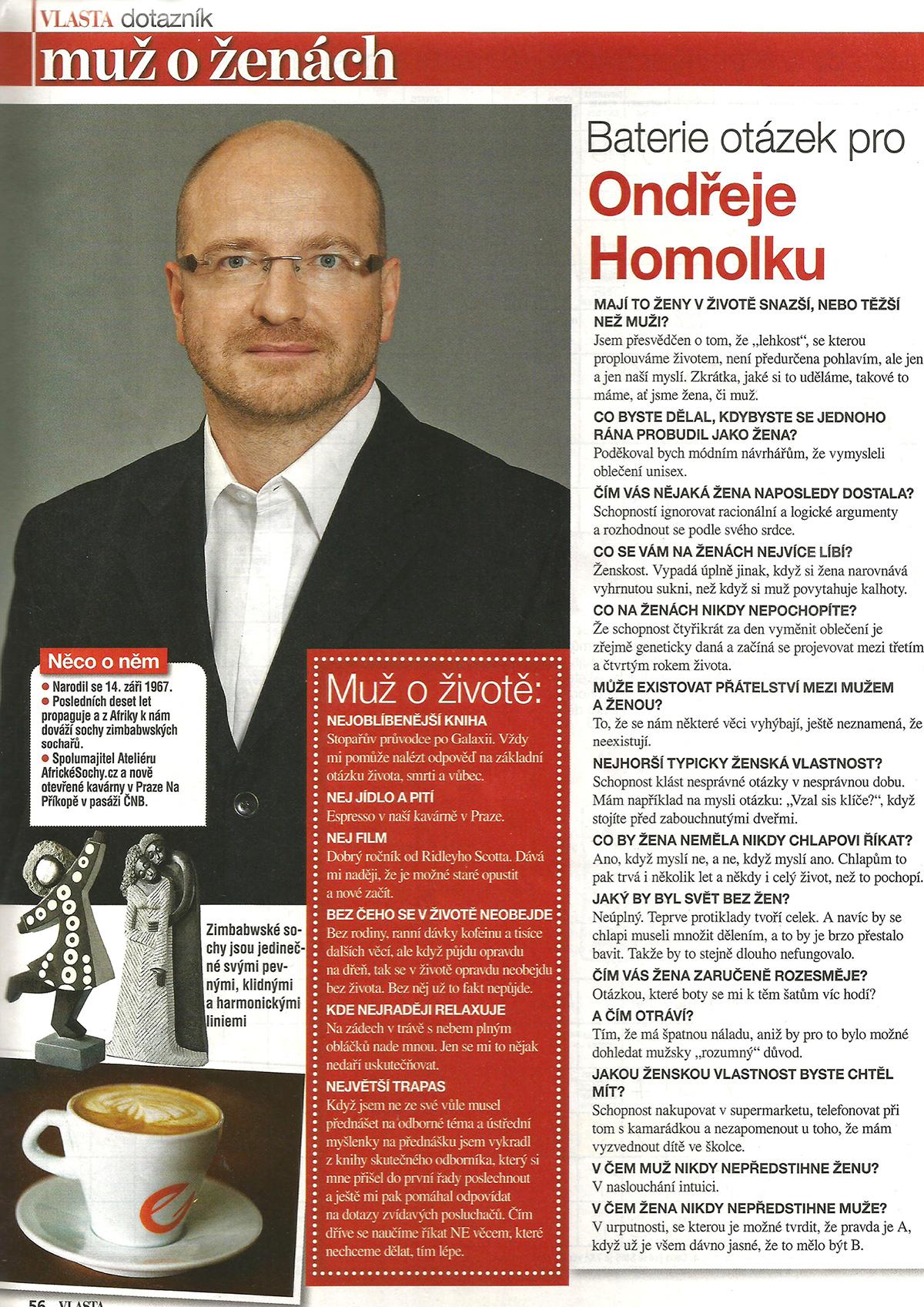 Odpovědi spolumajitele Ateliéru AfrickéSochy.cz Ondřeje Homolky na otázky týdeníku Vlasta